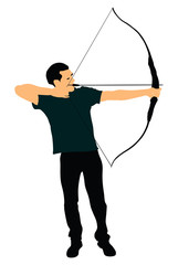 Archer vector symbol illustration isolated on white background. Hunter in hunting. Bow and arrow.