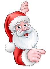 Santa Cartoon Pointing from Behind Sign