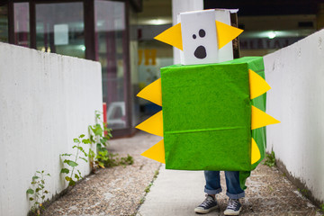 Boy in a handmade monster costume