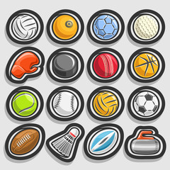 Vector set of Sports Balls, collection of sporting and gaming equipment, balls of different kinds of sports, boxing glove, hockey puck, badminton shuttlecock, curling stone isolated on grey background