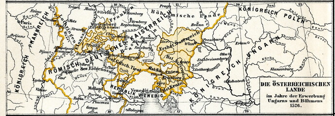 History of Austro-Hungarian Empire - Austrian lands in 1526, after the addition of Hungary and Bohemia (from Meyers Lexikon, 1896, 13/304/305)