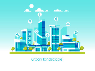Smart City Flat. Cityscape Background With Different Icon And Elements.  Modern Architecture. Mobile