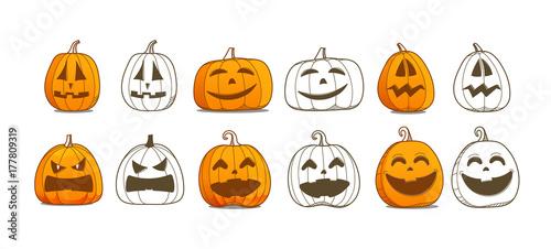 Halloween Pumpkin Vector.Halloween Pumpkin Vector Set Different Pumpkins Silhouettes Vector