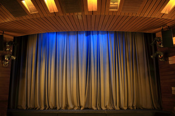 Brown curtains in theater