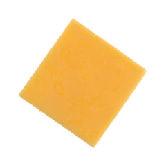 Top view of a square gouda cheese slice isolated on a white background.