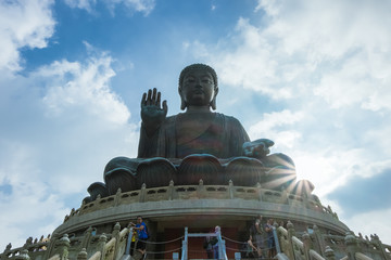 The enormous Tian Tan Buddha at Po Lin Monastery,Ngong Ping Village at Lantau Island in Hong Kong