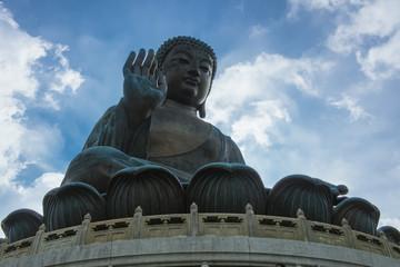 The enormous Tian Tan Buddha at Po Lin Monastery,Ngong Ping Village at Lantau Island in Hong Kong