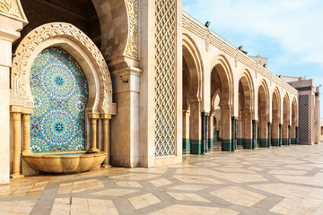 Fountain at the mosque Hassan second, Casablanca, Morocco