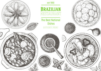 Brazilian cuisine top view frame. Brazilian food menu design. Vintage hand drawn sketch vector illustration.