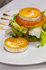 goat cheese slices with salad
