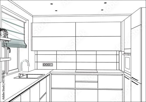 3D vector sketch. Modern kitchen design in home interior ...