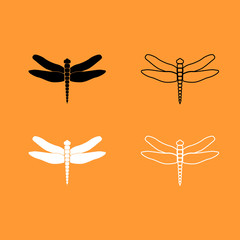 Dragonfly black and white set icon .