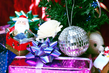 Gift and decoration under christmas tree.
