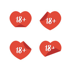 Flat design 18+ adult content heart stickers, signs isolated on white background.