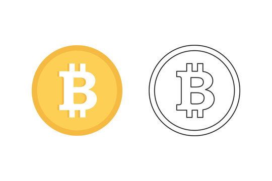 Flat design vector bitcoin icons, signs of modern cryptocurrancy isolated on white background.
