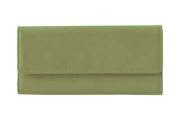 Khaki fashion woman s elegant leather wallet isolated on white
