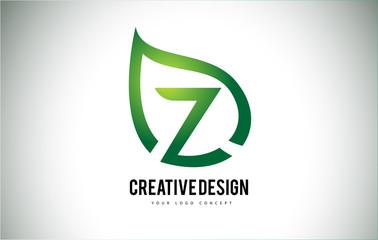 Z Leaf Logo Letter Design with Green Leaf Outline