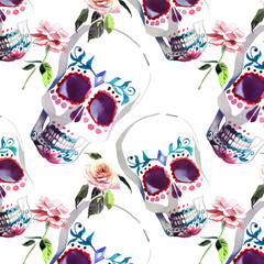 Beautiful lovely graphic artistic abstract bright cute halloween stylish floral skull with tender roses watercolor hand sketch. Perfect for textile, wallpapers, wrapping paper, cards, invitations