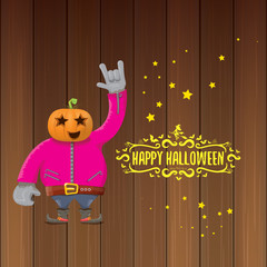 vector Happy halloween creative hipster party background. man in halloween costume with carved pumpkin head