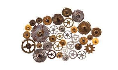 Steampunk machinery ornament style mechanical design isolated on white. Retro technology still life concept. Abstract shape object with many textured cogs gears wheels Golden silver shabby surface.