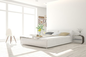Idea of white minimalist bedroom. Scandinavian interior design. 3D illustration