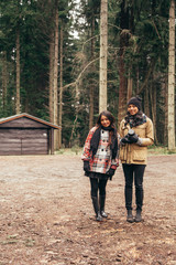 Girls in the woods