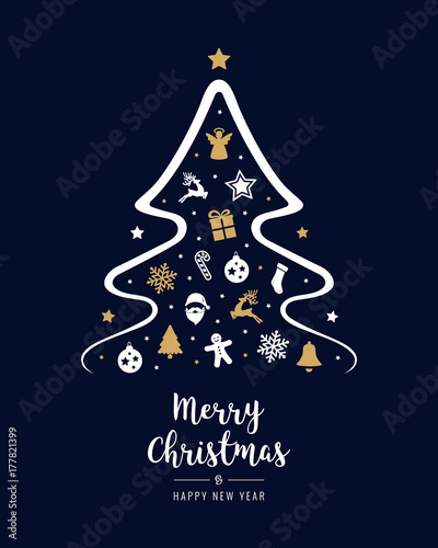 Merry christmas tree elements greeting text card golden blue merry christmas tree elements greeting text card golden blue background m4hsunfo