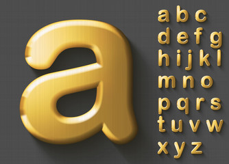 Set of golden luxury 3D lowercase english letters. Golden metallic shiny bold font on gray background. Good typeset for wealth and jewel concepts. Transparent shadow, EPS 10 vector illustration.