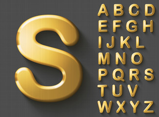 Set of golden luxury 3D uppercase english letters. Golden metallic shiny bold font on gray background. Good typeset for wealth and jewel concepts. Transparent shadow, EPS 10 vector illustration.