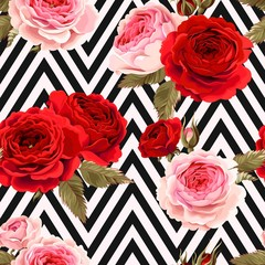Seamless pattern with roses ground