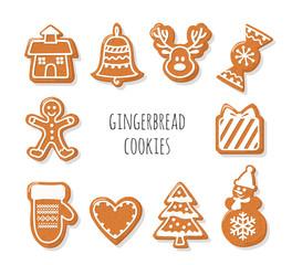 Gingerbread Cookies set. Christmas decorative elements.