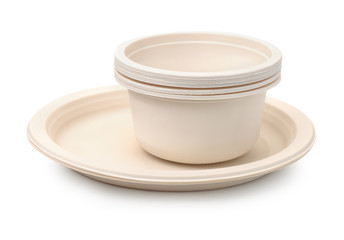 Set of biodegradable plastic dishware