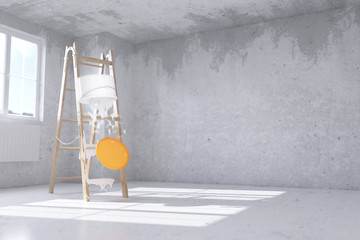 Falling paint bucket - 3D Rendering
