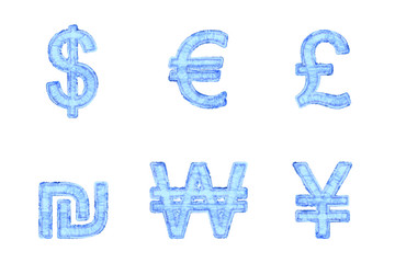 Ice currency symbols isolated on white, 3d illustration