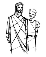 Jesus Christ walking with young man