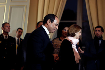 French Minister of the Armed Forces, Florence Parly, arrives with Egyptian President Abdel Fattah al-Sisi for a meeting at the Defense Ministry in Paris