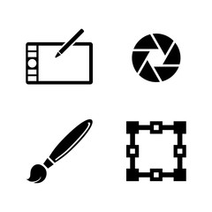 Design. Simple Related Vector Icons Set for Video, Mobile Apps, Web Sites, Print Projects and Your Design. Black Flat Illustration on White Background.