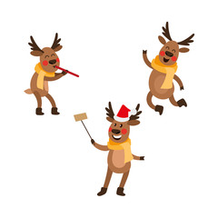 vector flat male christmas reindeer in scarf jumping, dancing, deer playing the pipe, and another one in hat making selfie by selfie stick winter holiday set. Isolated illustration on white background