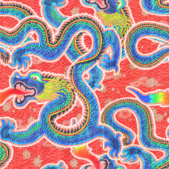 seamless chinese dragon pattern.High-resolution seamless texture