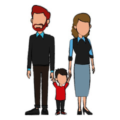 Young family cartoon icon vector illustration graphic design