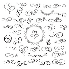 set of flourish calligraphy vintage hearts and whorls. Illustration vector hand drawn EPS 10