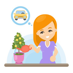 Woman with money tree.