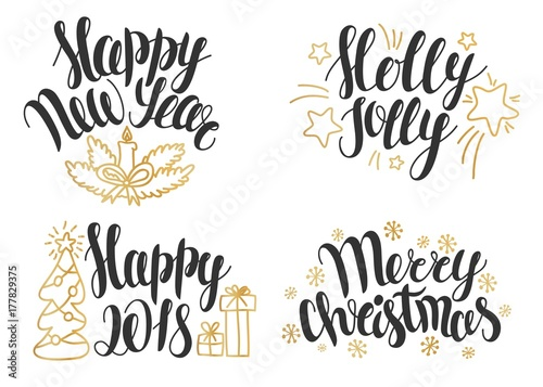 Christmas lettering collection. Hand drawn phrases for Christmas and ...