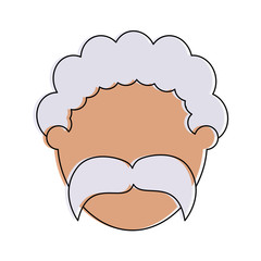 elderly man with curly hair and mustache avatar head icon image vector illustration design