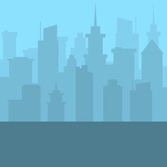 City skyline. Urban landscape. Blue city silhouette. Cityscape in flat style.