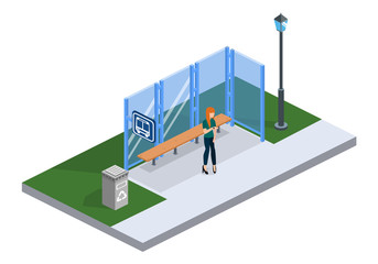 Isometric 3D vector illustration people waiting fo bus on bus stop