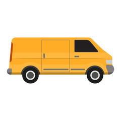 Cargo van. Yellow delivery truck on white background. Commercial transport.