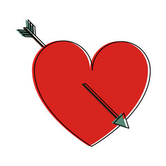 heart cartoon with arrow valentines day related icon image vector illustration design