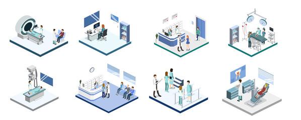Isometric 3D vector illustration set of reception, mrt, x-ray, surgery, rehabilitation and dentist