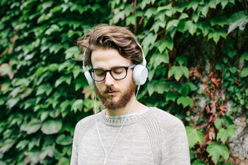 Young man portrait with headphones